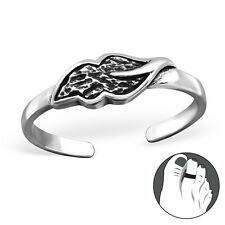 Tjs 925 Sterling Silver Toe Ring Gorgeous Leaf Adjustable Jewellery Oxidised