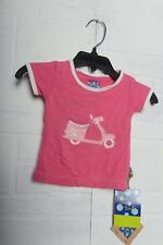 KicKee Pants Short Sleeve Puff Tee with Scooter Bike Girls Pink Appliqué 0-3 M