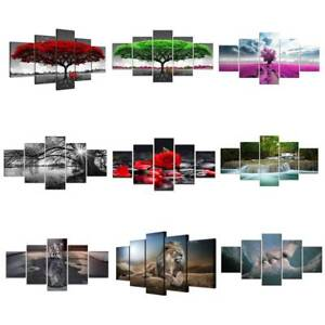 5Panels Unframed Modern Canvas Art Oil Painting Picture Wall Hanging Room Decors