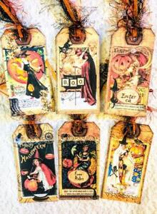 Set of 6 Hang Tags~Halloween Vintage~Party Tags~Gift Tags~Scrapbook~Cards~#352R