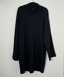 """COS Black Oversized Batwing Smock Dress Turtle Neck Chunky Heavy Large L Ch48"""""""