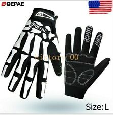 QEPAE skeleton Practical Cycling Bike Bicycle Full Finger Glove Sport Gloves L