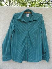 The North Face Blouse Misses L Poly Blend Teal Green Ivory Gray MINT