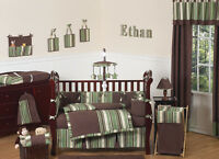 Discount Modern Stripes Room Collection 9pc Baby Boy Crib Comforter Bedding Set