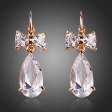 Rose Gold Plated Genuine Clear White Sparkling Zircon Tear Drop Earring Jewelry