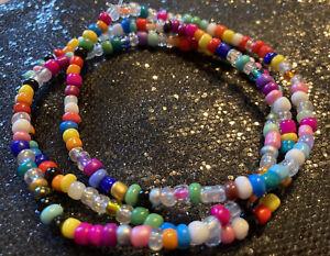 Boho Hippie Hippy Multi Colour Patchwork Bead  Stretchy Ankle Bracelet Anklet