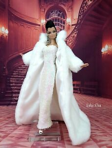 Handmade White Dress Outfit Gown Fur Coat Silkstone Barbie Fashion Royalty FR