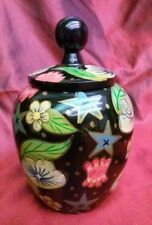Wooden Black Floral Lacquer Box, Collectible Jar
