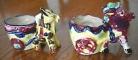 Vintage Set of Two Porcelain Betson's Hand Painted Ceramic Donkey Cart Planters