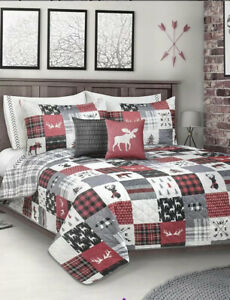 New Patchwork Reversible Printed Holiday Quilt 3PC Set Full/Queen,Reindeer