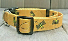 1 inch Colorful Yellow Bee Adjustable Dog Collar with Quick Release Buckle