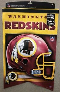 "WASHINGTON REDSKINS 17"" x 26"" PREMIUM FELT INDOOR FLAG BANNER PENNANT FREE SHIP"