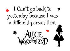 """Alice in Wonderland """"Cant go back"""" Typography Decorative Vinyl Wall Sticker"""