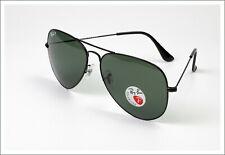 Ray-Ban 3025 Aviator Polarized Sunglasses  Black Frame w/ Natural Green  62mm