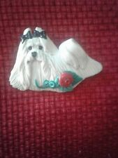 Maltese Dog Brooch with Black Bows Beautiful  2.5 lenght and 1.5 inches