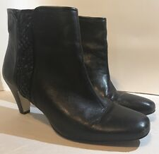 ALEX MARIE Black Leather Ankle Boots side zipper size 7