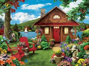 Jigsaw Puzzle Landscape Waterfront Log Cabin Vacation Retreat 750 pieces NEW