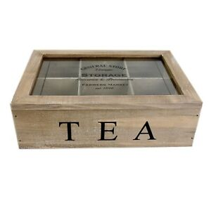 Tea Box General Store 6 Compartment Tea Bag Chest Rustic Vintage Storage Caddy