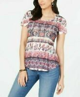 New Style&co. Women Short Sleeve Multi Flower Print Scoop Neck Blouse Top Small