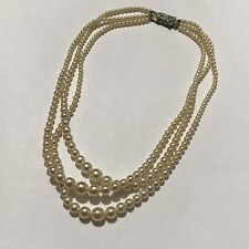 Vintage Retro 50's style Faux Pearl Triple Strand Graduated Statement necklace