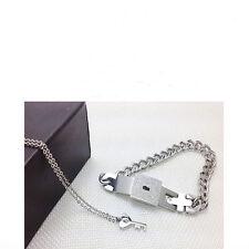 Bangle Bracelet and Key Pendant Necklace Sets Fashion Couple Titanium
