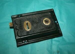 Antique  Brass And Steel Duel Handled Rim Door Lock  3