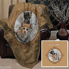 PERSONALISED CAT PET BLANKET FLEECE DESIGN SOFT COVER LARGE CHAIR THROW BED WARM