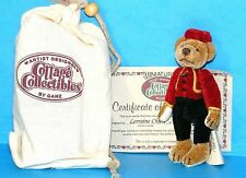 COTTAGE COLLECTIBLES Miniatures by Ganz BELLHOP Brown BEAR Red Jacket Pouch COA