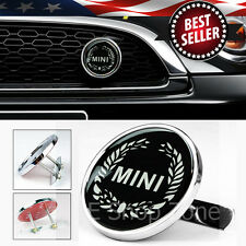 "Metal 3"" Black White Wreath MINI Grill Grille Emblem Badge For Most Mini Cooper"