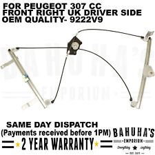 ELECTRIC WINDOW REGULATOR-  FOR PEUGEOT 307 CC 09-2014 FRONT RIGHT DRIVER SIDE