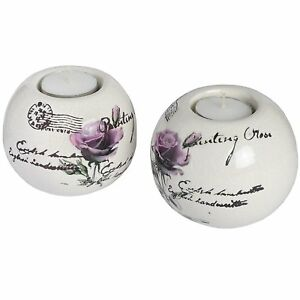 2 x large rose ceramic tea light candle - home garden party barbecue or gift