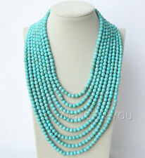 8rows 6mm round blue turqouise necklace 925ss E2049