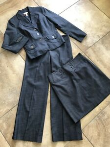 ann taylor loft Women 6/8 Navy Blazer Straight Skirt Marisa Pants 3 Piece Suit