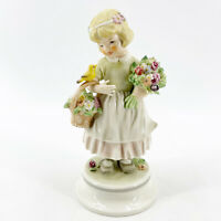 Vintage 1970 Hummel W Goebel Lore 248 Bird Song Girl with Flowers Figurine TMK-4
