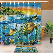 Custom Sea Turtle Shower Curtain Bathroom Waterproof Fabric & 12Hooks 180*180cm