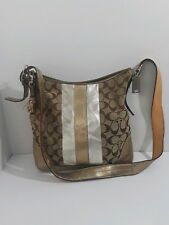 c76eb0b718 Coach Signature 3 Color Metallic File Swing Bag Crossbody Pre-owned.