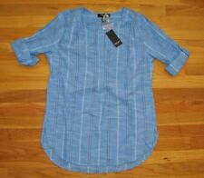 NWT Womens NINE WEST Dutch Blue Braid Stripe Lucy Blouse Shirt Sz Medium
