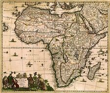 MAP ANTIQUE DE WIT 1688 AFRICA CONTINENT OLD LARGE REPLICA POSTER PRINT PAM0881