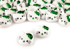 10 x Green HELLO KITTY Buttons Sewing Cardmaking Scrapbooking Kids DIY