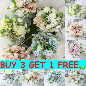 13 Heads Silk Peony Artificial Flowers Fake Bouquet Wedding Home Party Decor L8