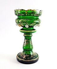 CRYSTAL MANTLE Luster  Bohemia EMERALD Green Glass LUSTRE Vase Gold Grape Vine