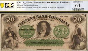 1860s $20 BILL CITIZENS BANK LOUISIANA NOTE LARGE CURRENCY PAPER MONEY PCGS 64