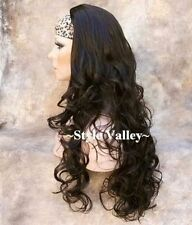 Dark Brown 3/4 Fall Hairpiece Half Wig cap Long Curly Layered Hair Piece NEW