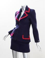 CHANEL BOUTIQUE Womens 97A Navy Wool Zip Up Fitted Short Skirt Suit Outfit 36