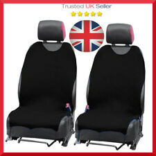 2 x BLACK CAR SEAT COVERS PROTECTORS For Nissan Micra Front Set