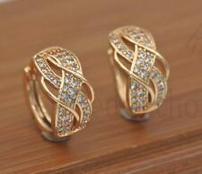 18K Gold Filled - Luxury Earrings Swirl Ear Stud Topaz Twisted Multilayer Lady