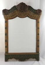 Wicker & Scalloped Wood Mirror Brown & Green 24 x 36""