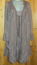NWT PRETTY ANGEL blouse DRESS tunic VICTORIAN GYPSY ruffle lace VINTAGE BROWN 3X