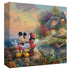 Beautiful Thomas Kinkade Disney Mickey & Minnie Sweetheart Cove Small Canvas