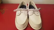 Sperry Top Sider Mens Slip On Boat Canvas Shoes Sz 7 Linen Off White Non Marking